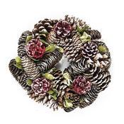 Dekorativní vánoční věnec se šiškami a listy 24 cm