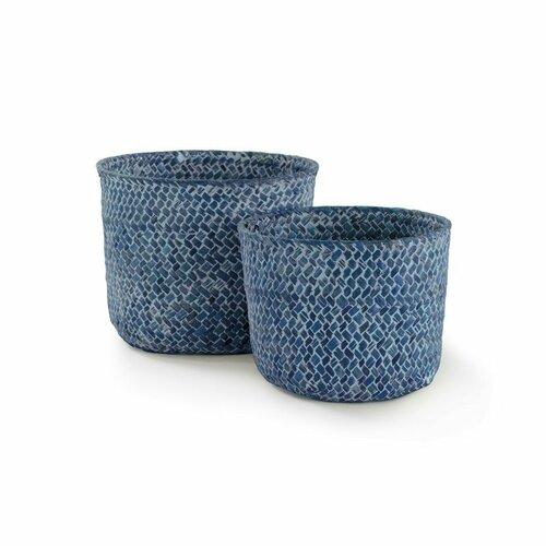 Compactor Set 2 ks pletených košíkov Compactor MIKA, malý 14 x 11 cm, veľký 16 x 12 cm, modrý - Jeans
