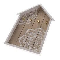 Drewniany wieszak na klucze Mandala, 4 haczyki, 25 x 35 x 3,5 cm