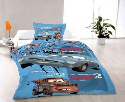 Dětské povlečení Cars 2, 140 x 200 cm, 70 x 90 cm, modrá, 140 x 200 cm, 70 x 90 cm
