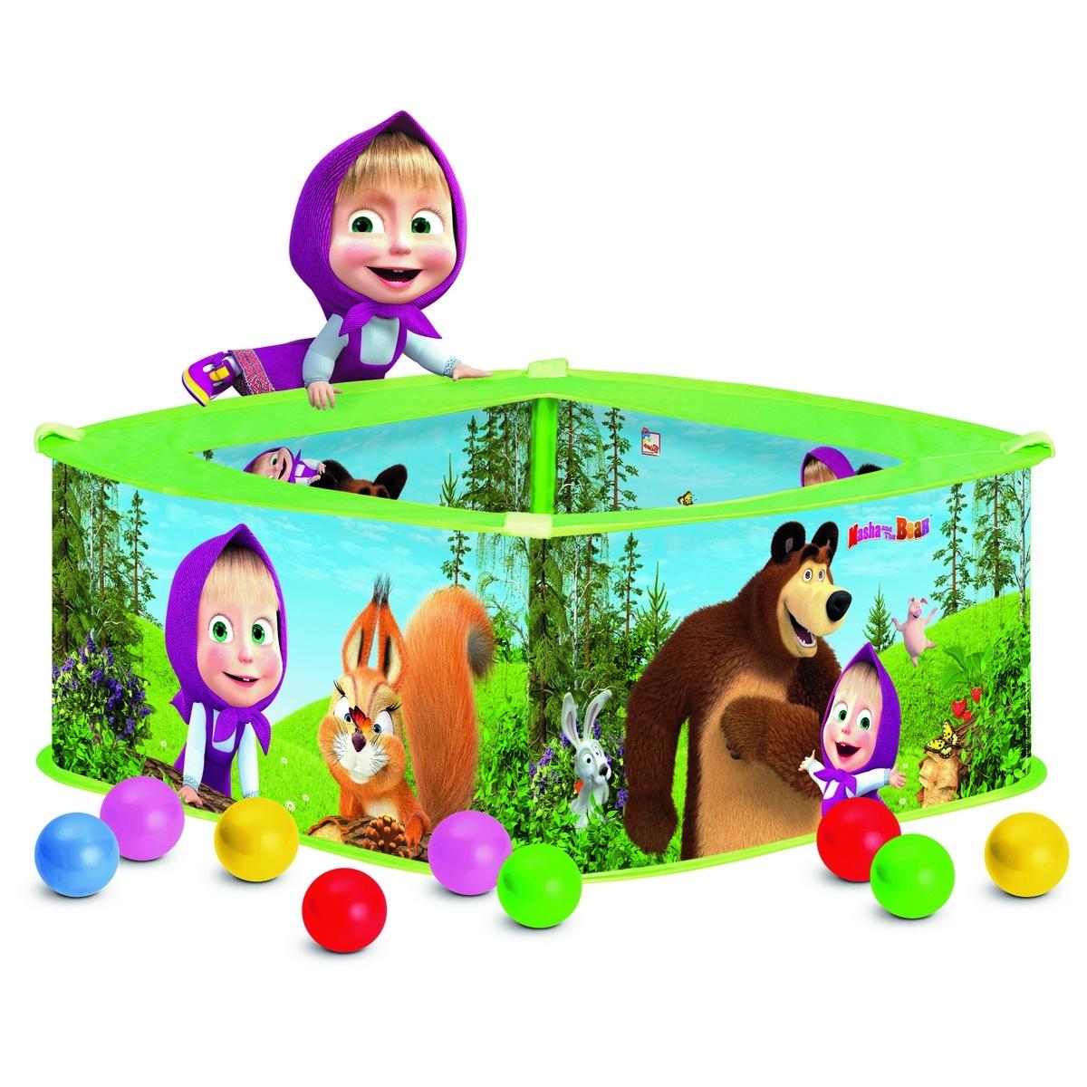 Bino Bazén s balonky Máša a medvěd, 30 x 75 x 75 cm