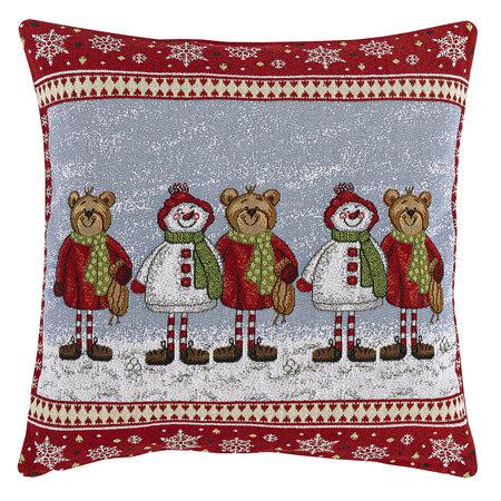 Față de pernă, model de Crăciun Goblen Ursuleți, 45 x 45 cm