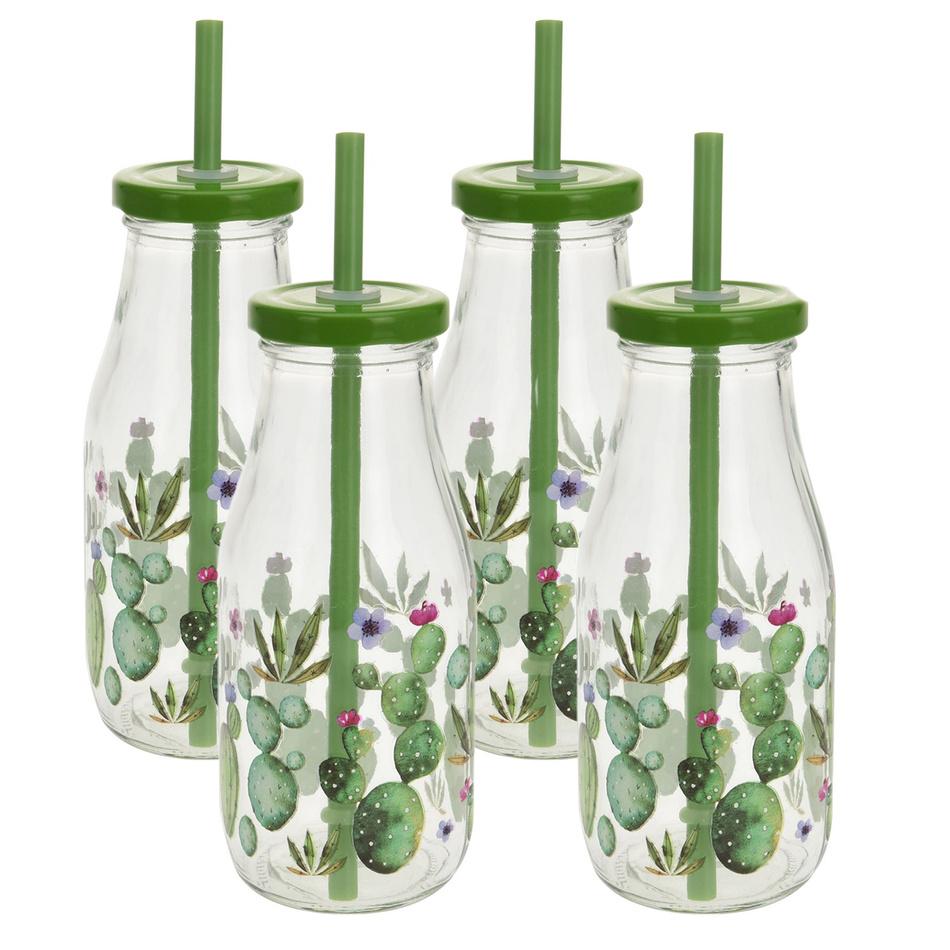 Sada pohárov s viečkom a slamkou Cactus 230 ml, 4 ks