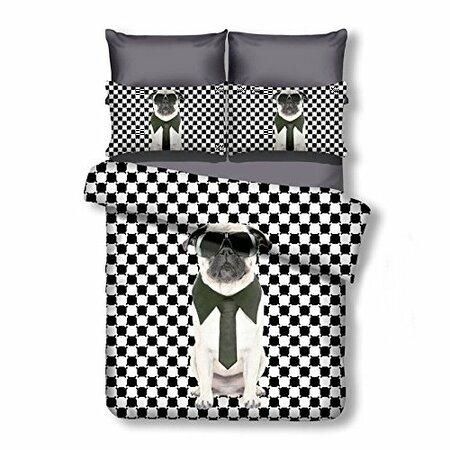 DecoKing Obliečky Mr. Pug mikrovlákno, 135 x 200 cm, 80 x 80 cm