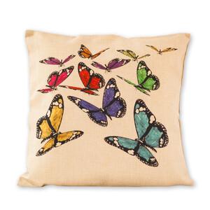 Povlak na polštářek Režný motýli, 45 x 45 cm