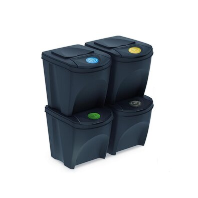 Coșuri selectare gunoi Sortibox 25 l, 4 buc., antracit