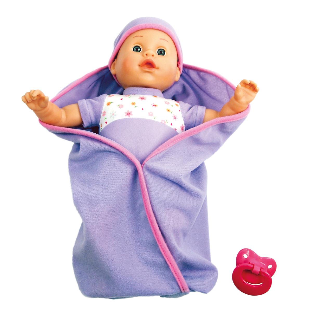Bino Mluvící panenka v peřince - fialová