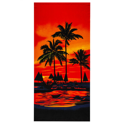 Plážová osuška Palmy červená, 70 x 150 cm