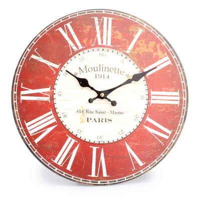 Nástěnné hodiny římské číslice červená