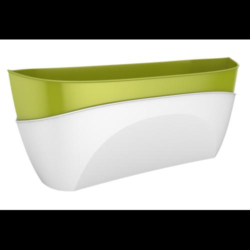 Samozavlažovací truhlík Doppio sv. zelená + biela, Plastia