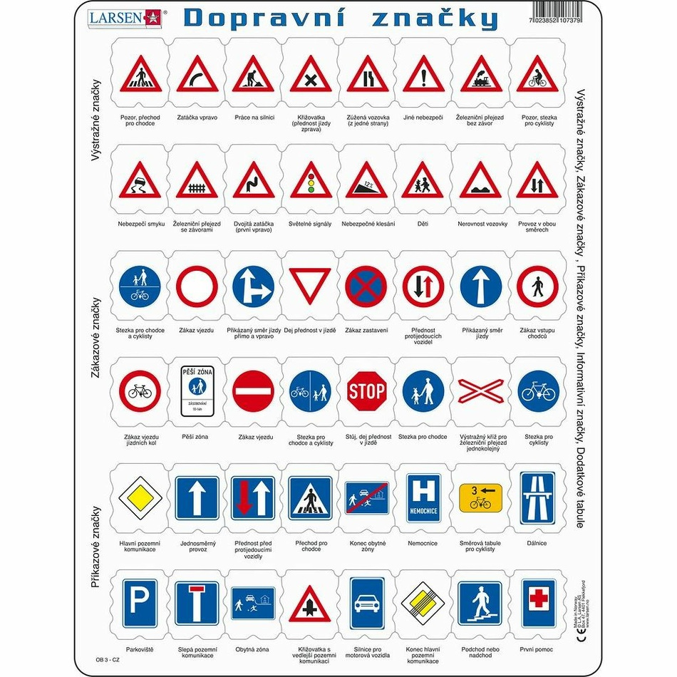 Larsen Puzzle Dopravní značky, 48 dílků