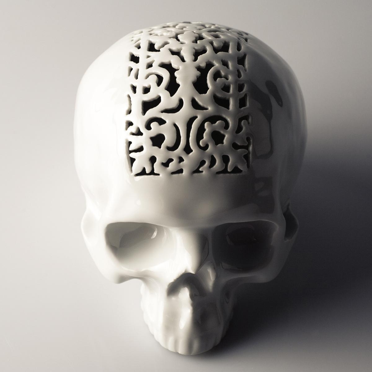 Studio Pirsc Porcelain Pokladnička Skull # 2, 15 cm, biela