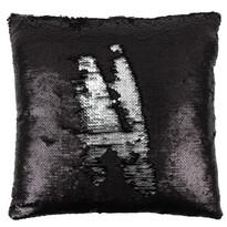 Poduszka z cekinami czarny i srebrny, 40 x 40 cm