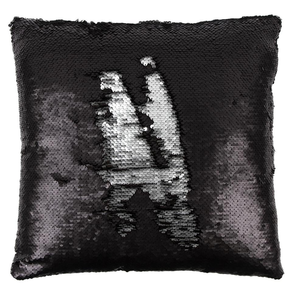 Dakls Polštářek s flitry černá a stříbrná, 40 x 40 cm