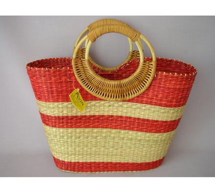 Nákupní taška s ratanovými uchy červená