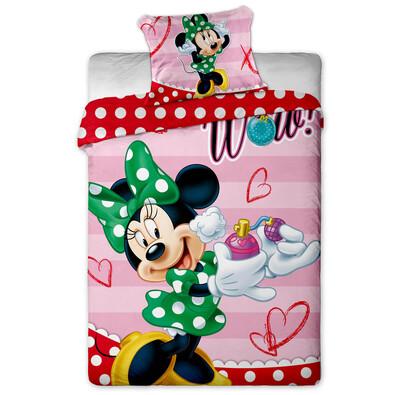 Dětské povlečení Minnie green dot micro, 140 x 200 cm, 70 x 90 cm