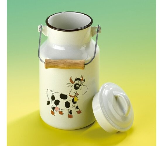 Smaltovaná bandaska na mléko, 1 l