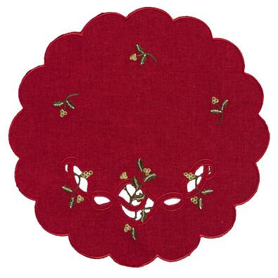 Vánoční ubrus jmelí červená, pr. 35 cm