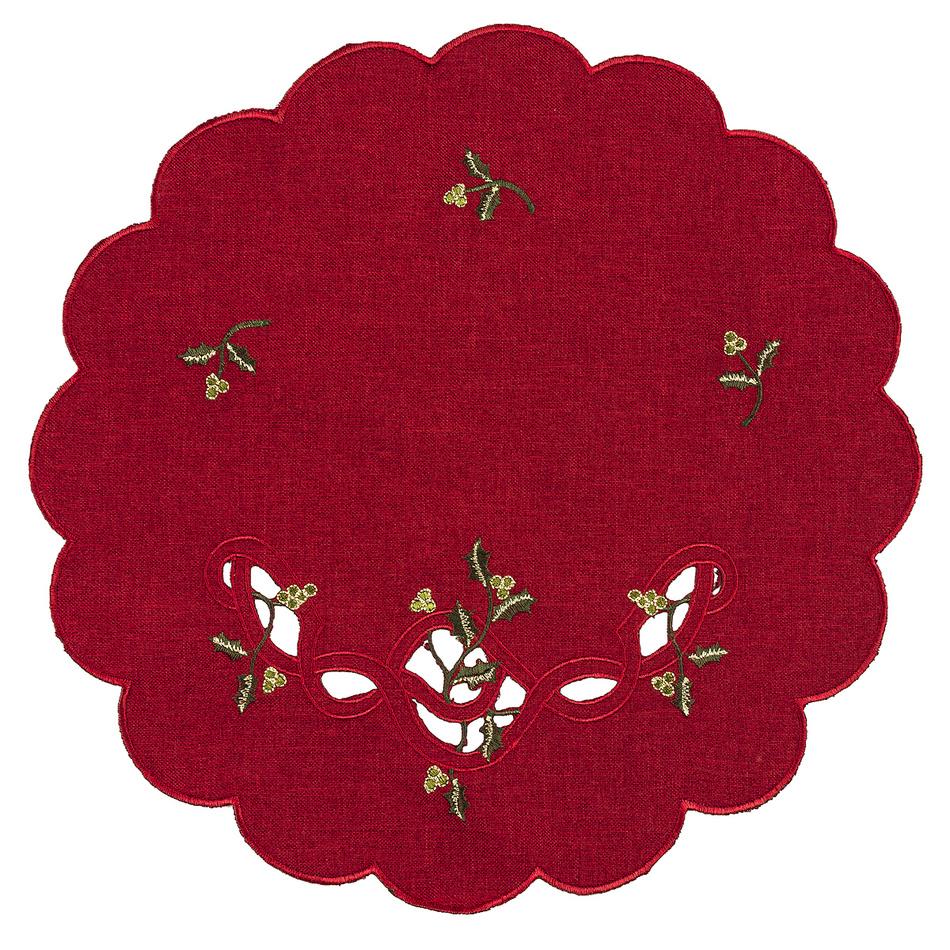 Forbyt Vianočný obrus imelo červená, , pr. 35 cm