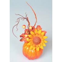 Jesenné aranžmá Tekvica so slnečnicou, 16 x 10 cm