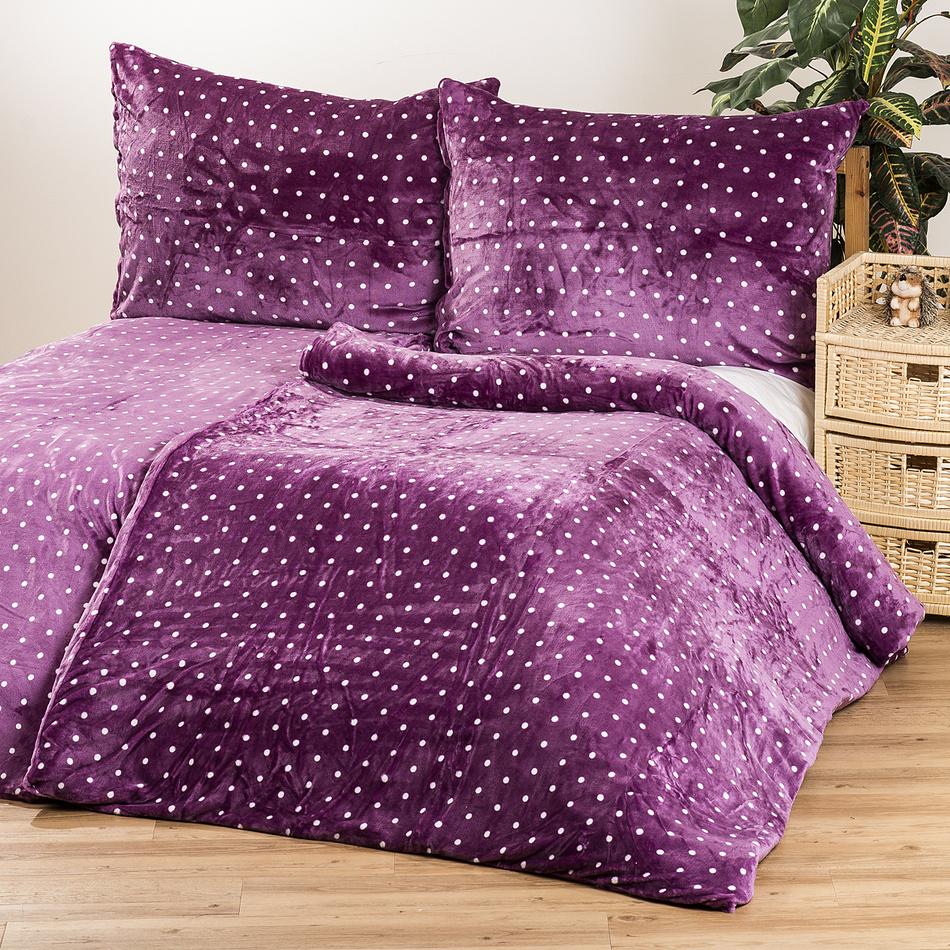 Jahu Povlečení mikroplyš Polka fialová, 140 x 200 cm, 70 x 90 cm