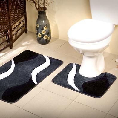 Koupelnová předložka Borneo černá, sada 2 ks, 50 x 80 cm + 50 x 40 cm