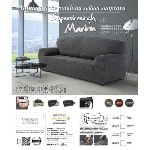 Multielastický poťah na 3-dielnu sedaciu súpravu Martin tmavosivá, 180 - 220 cm