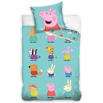 Lenjerie de pat din bumbac, pentru copii, Purceluș Peppa și Prietenii, 140 x 200 cm, 70 x 90 cm