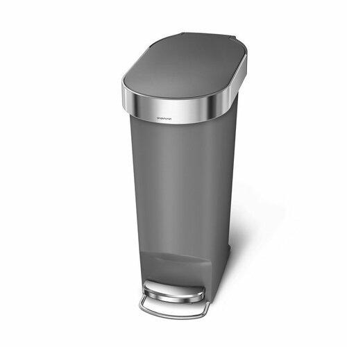 Simplehuman Pedálový oválný odpadkový koš 40 l, šedá