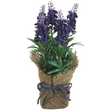 Umělá květiná levandule v květináči tmavě fialová