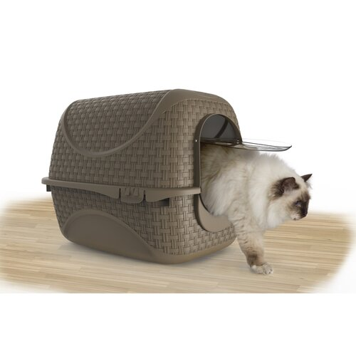Toaleta pro kočky Rattan hnědá, 42 x 50,5 x 40 cm