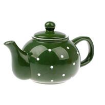Keramická konvička na čaj Dots 1 l, zelená