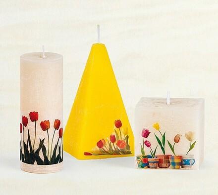 Svíčka s dekorem tulipánů - jehlan, žlutá