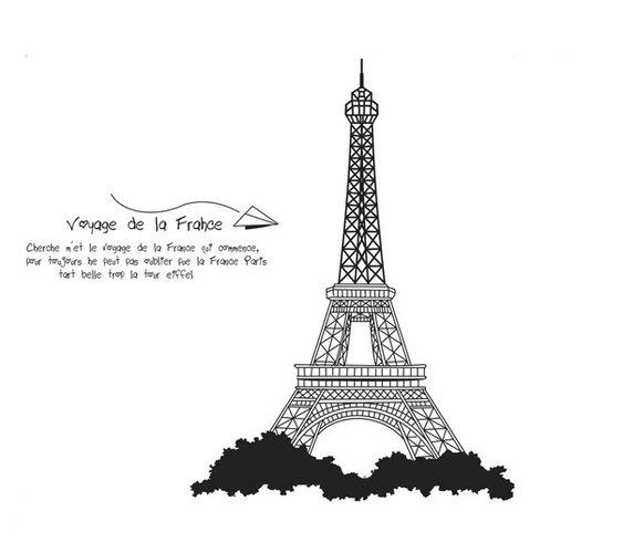 Samolepicí dekorace Eiffelová věž černá
