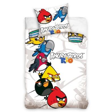 Dětské bavlněné povlečení Angry Birds Rio white, 140 x 200 cm, 70 x 80 cm