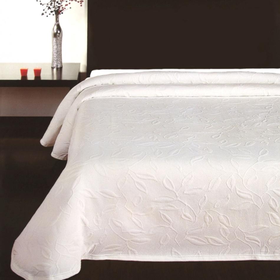 Forbyt Prehoz na posteľ Floral biela, 140 x 220 cm, 140 x 220 cm