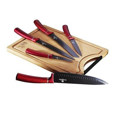 6-dielna sada nožov s doštičkou Burgundy Line