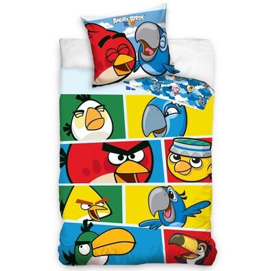 Dětské bavlněné povlečení Angry Birds Check blue, 140 x 200 cm, 70 x 80 cm