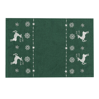 Vánoční prostírání Sobíci zelená, 30 x 45 cm