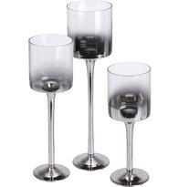 Set 3 sklenených svietnikov
