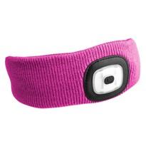 Sixtol fejpánt fejlámpával 45 lm, USB, uni, rózsaszín