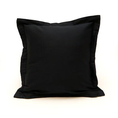 Povlak na polštářek s lemem satén černá, 40 x 40 cm