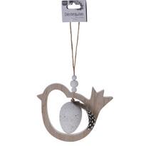 Veľkonočná závesná dekorácia Vtáčik s vajíčkom, biela