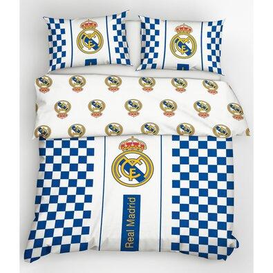 Real Madrid Check pamut ágynemű, 220 x 200 cm, 2 db 70 x 80 cm