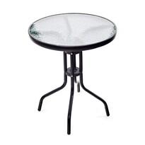 Stolik metalowy z blatem szklanym, śr. 60 cm