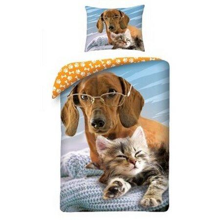 Detské bavlnené obliečky Animals Dog and Cat, 140 x 200 cm, 70 x 90 cm