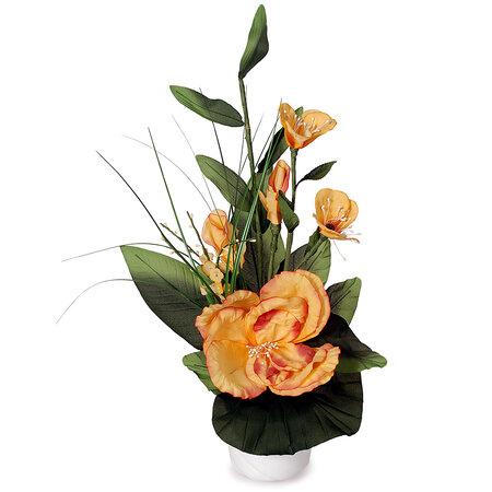 Aranžmá Růže v květináči oranžová, 50 cm