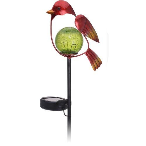 Lampă solară Bird, roșu, 13 x 6 x 52 cm imagine 2021 e4home.ro