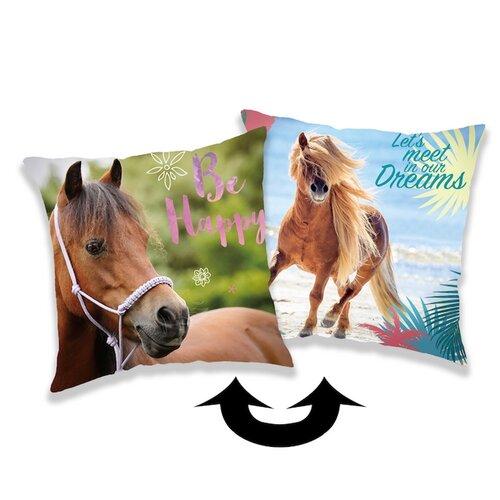 Jerry Fabrics Obliečka na vankúšik s flitrami Horse heart, 40 x 40 cm