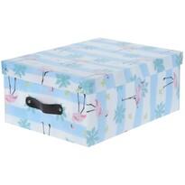 Koopman Dekoračný úložný box Flamingo, modrá
